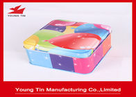 Kemasan Hadiah Colorful Square Tin Containers Dengan Tutup Eco - Friendly Customized