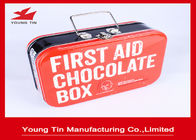 Rectangle First Aid Chocolate Tin Box, CMYK Printing Penuh Warna Kaleng Cokelat