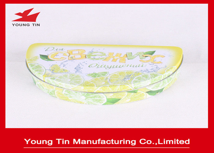 Yellow Half Round Candy Gift Tin Boxes Artwork Printing Food Grade Metal Tinplate