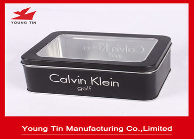 Hadiah Hitam Printed Tin Containers 0.23mm Rectangle Metal Watch Packaging Clear Window On Top