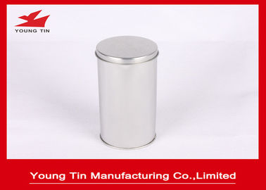FDA Blank Round Cylinder Tinplate Logam Canister Plain Color Untuk Penyimpanan Teh