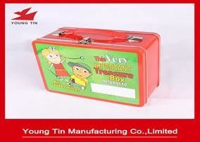 Logam Tinplate Rectangle Lunch Tin Container Box 218 x 165 x 100 MM Dengan Cetak Kustom