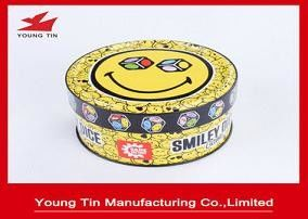 Smiley Games Anak-anak Hadiah Kemasan Tin Box CMYK Printing Shinny Finish Outside