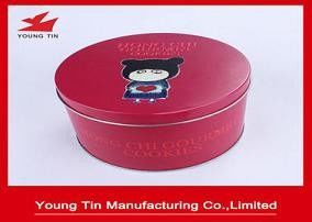 Red Aluminium Round 135 x 80 MM Cookie / Biskuit Gift Tins 0.23 MM Custom Dicetak