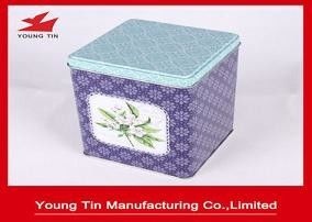 Floral Rectangular Tin Containers Recyclable Tea Packaging Dengan Cetak Kustom