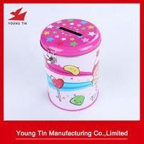 Full Color Printed Putaran Tin Money Box Logam Tinplate Lock Material Terlampir